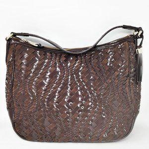 Cole Haan Genevieve Weave Brown Hobo Handbag